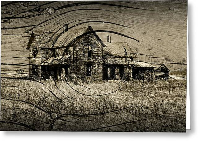 Randy Greeting Cards - Old Farm House with Wood Grain Overlay Greeting Card by Randall Nyhof