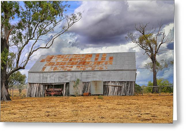 Shed Digital Art Greeting Cards - Old Farm Shed Greeting Card by Keith Hawley