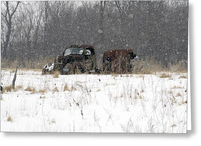 Old Trucks Greeting Cards - Old Farm Truck in the Snow Greeting Card by Laurie With