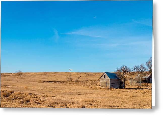 Barn Yard Greeting Cards - Old Farm under Day Moon Greeting Card by Jeffrey Henry