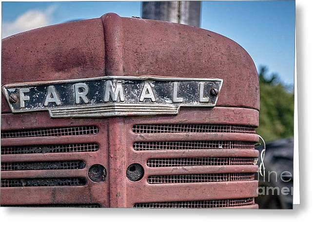 Bestsellers Greeting Cards - Old Farmall Tractor Grill and Nameplate Greeting Card by Edward Fielding
