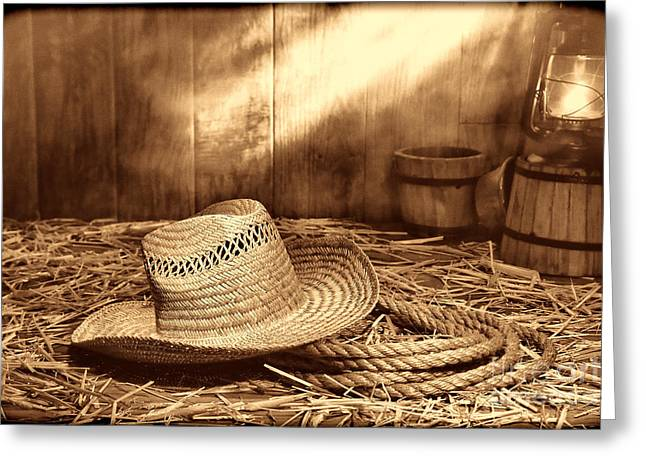 Oil Lamp Greeting Cards - Old Farmer Hat and Rope Greeting Card by American West Legend By Olivier Le Queinec