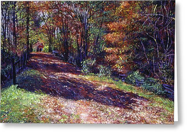 Farm Scenes Greeting Cards - Old Farmhouse Road Greeting Card by David Lloyd Glover