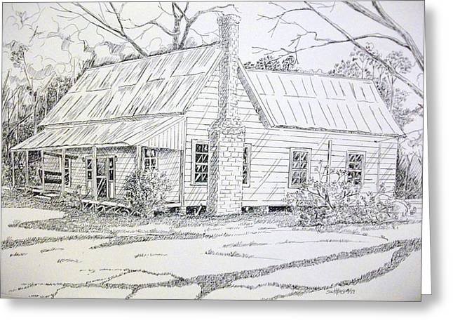 Tin Roof Drawings Greeting Cards - Old Farmhouse Greeting Card by Scott Easom