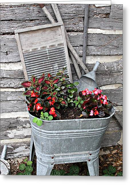 Wash Tubs Greeting Cards - Old Fashion Elements with Flowers Greeting Card by Linda Phelps