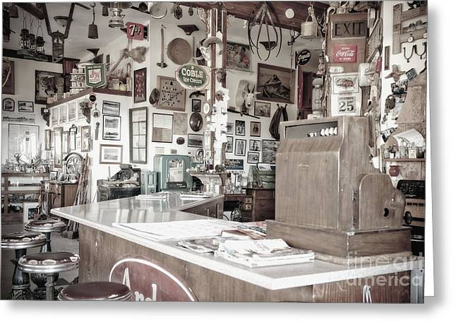 Recently Sold -  - Black Top Greeting Cards - Old Fashioned Diner Greeting Card by Dave & Les Jacobs