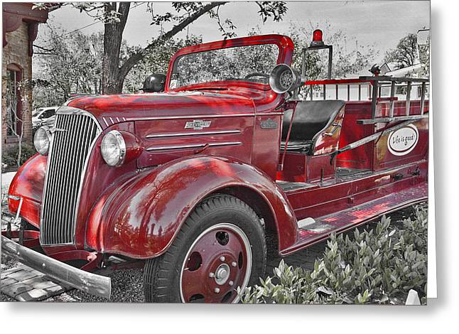 Southern Utah Greeting Cards - Old-Fashioned Firetruck 2 Greeting Card by Steve Ohlsen