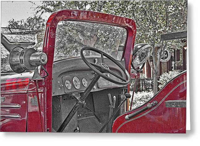 Southern Utah Greeting Cards - Old-Fashioned Firetruck 3 Greeting Card by Steve Ohlsen