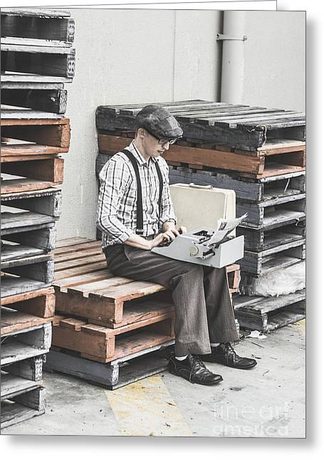 Old Fashioned Male Journalist Writing News Report Greeting Card by Jorgo Photography - Wall Art Gallery
