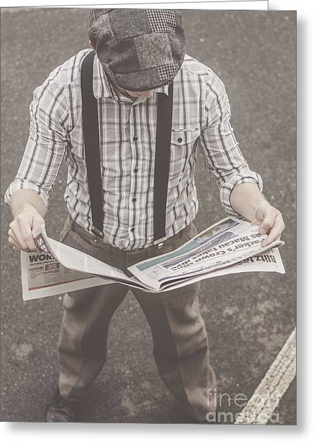 Old-fashioned Man Perusing The Latest Newspaper Greeting Card by Jorgo Photography - Wall Art Gallery