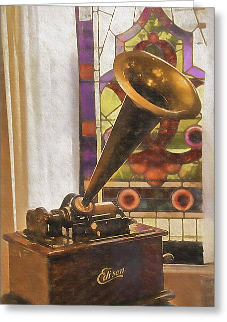 Edison Greeting Cards - Old-Fashioned Phonograph Greeting Card by Steve Ohlsen