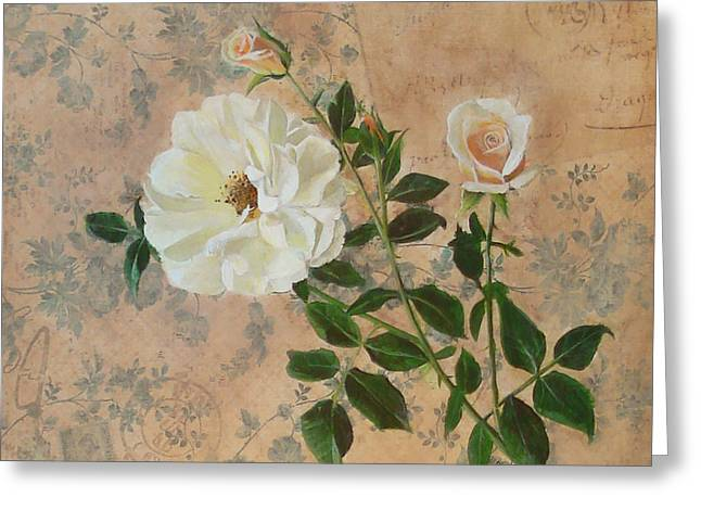 Carrie Jackson Greeting Cards - Old Fashioned Rose Greeting Card by Carrie Jackson