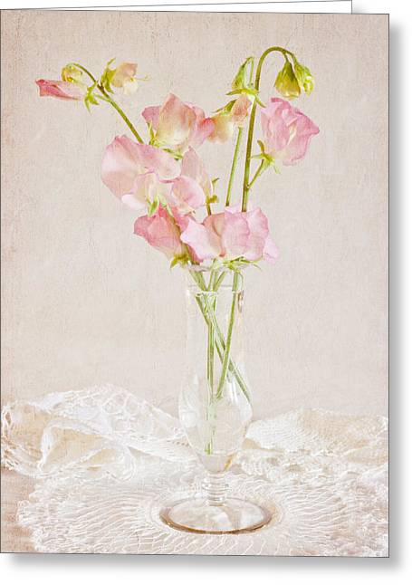 Fashion Art For Boutique Greeting Cards - Old Fashioned Sweet Peas Greeting Card by Sandra Foster