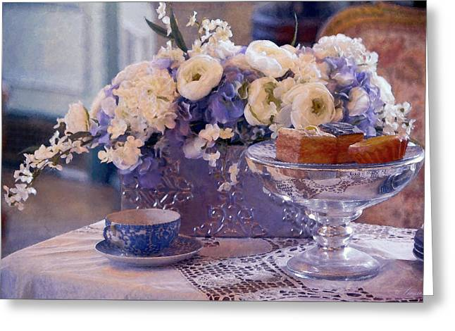 Old Fashioned Tea Party Greeting Card by Maria Angelica Maira