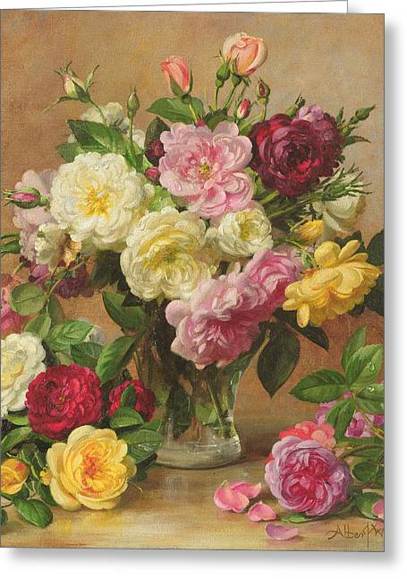Glass Flowers And Leaves Greeting Cards - Old Fashioned Victorian Roses Greeting Card by Albert Williams