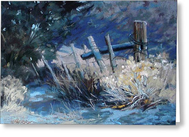 Snow Scene Landscape Pastels Greeting Cards - Old Fence Greeting Card by Mary Ann Cherry