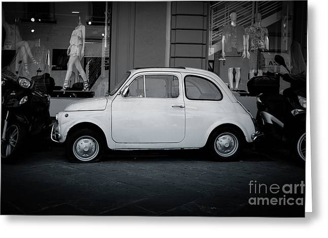 Florence Greeting Cards - Old Fiat on the streets of Florence Greeting Card by Edward Fielding