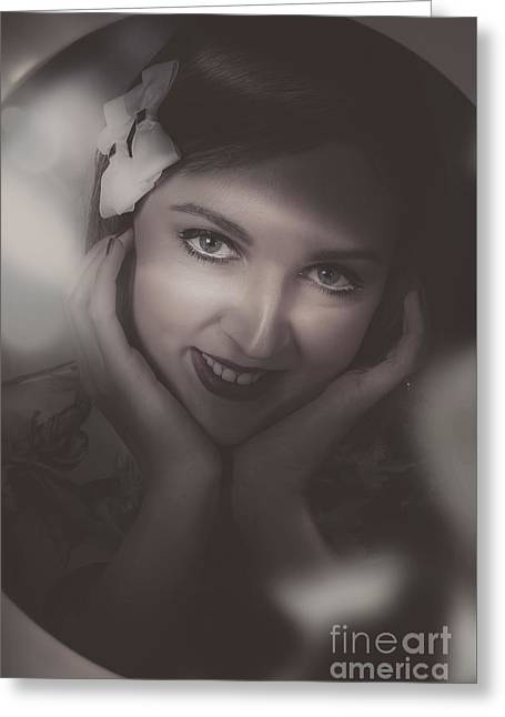 Duo Tone Greeting Cards - Old film noir photo on the face of a 1920s lady Greeting Card by Ryan Jorgensen