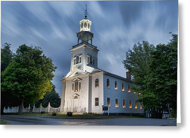 Candle Lit Greeting Cards - Old First Church of Bennington Greeting Card by Stephen Stookey
