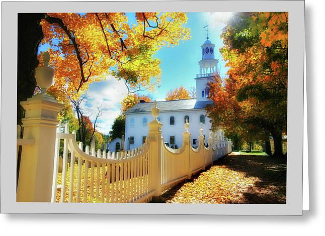 Back Lighting Greeting Cards - Old First Church of Bennington Greeting Card by Thomas Schoeller