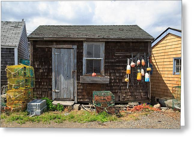 Cape Neddick Lighthouse Greeting Cards - Old Fishing  houses  Greeting Card by Emmanuel Panagiotakis