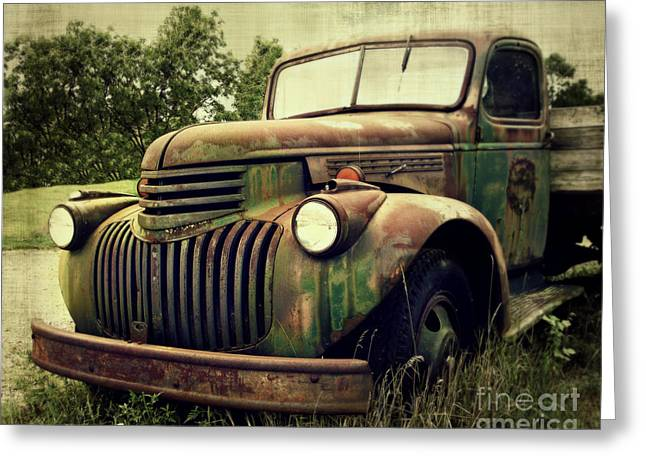 Recently Sold -  - Rusted Cars Greeting Cards - Old Flatbed Greeting Card by Perry Webster