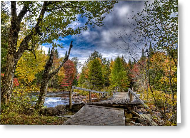 Reflections In River Greeting Cards - Old Footbridge Over the Moose River Greeting Card by David Patterson