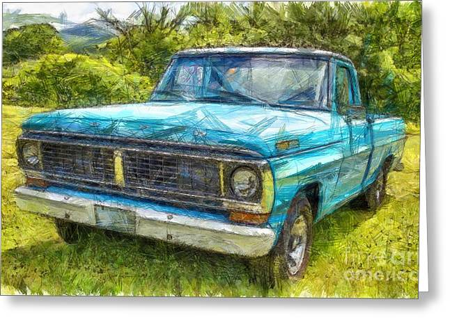 Old Ford Pick Up Truck Pencil Greeting Card by Edward Fielding
