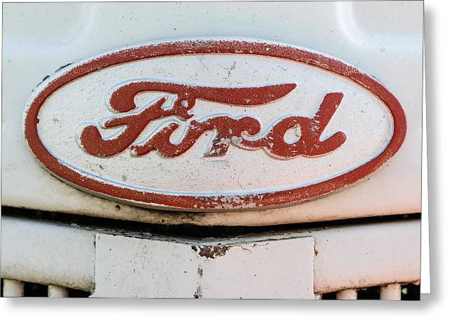 Caves Greeting Cards - Old Ford Tractor logo Greeting Card by Sandy Potere