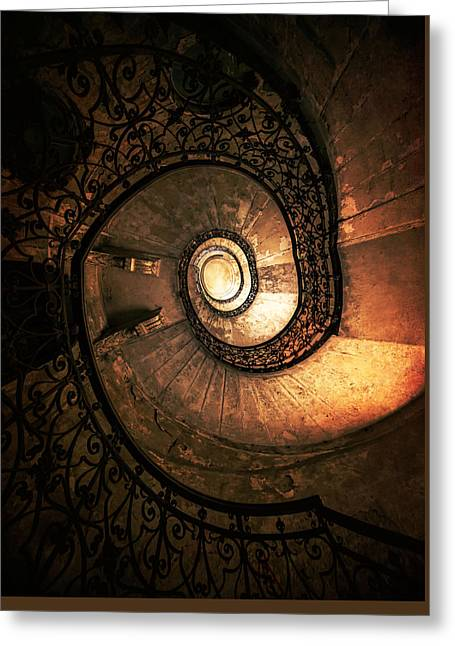 Black Top Greeting Cards - Old forgotten spiral staircase Greeting Card by Jaroslaw Blaminsky