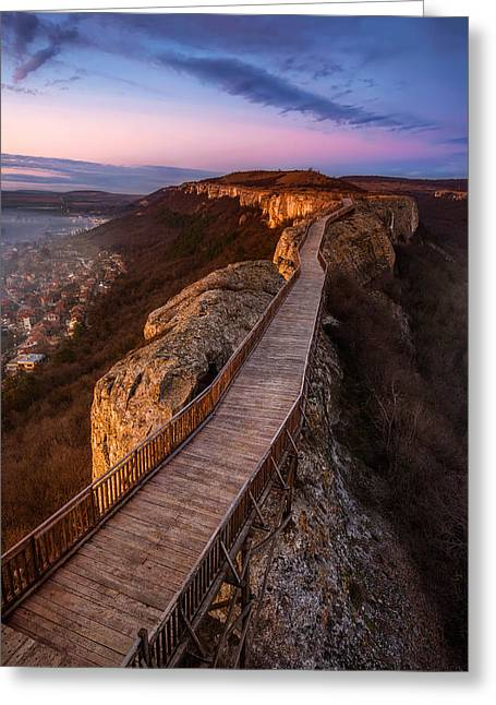 Ovech Fortress Greeting Cards - Old fortress at sunset Greeting Card by Evgeni Ivanov