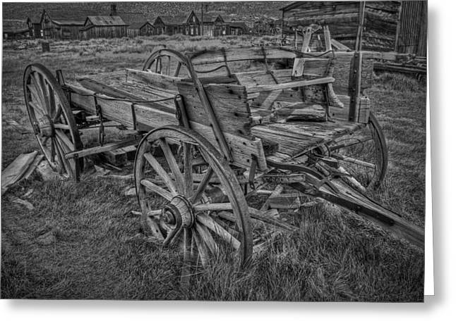 Ghosts Pyrography Greeting Cards - Old Freight Wagon BW Greeting Card by Rick Strobaugh