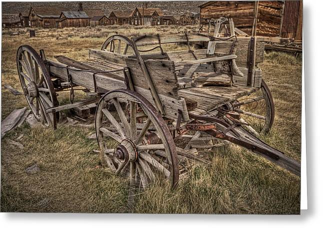 Wheel Pyrography Greeting Cards - Old Freight Wagon Greeting Card by Rick Strobaugh