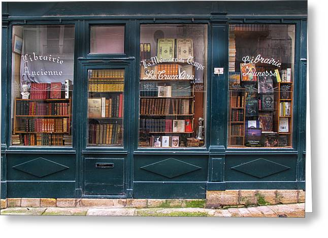 French Doors Greeting Cards - Old French Bookshop Greeting Card by Dave Mills