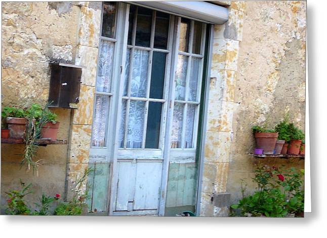 French Doors Greeting Cards - Old French Entree SouthWest Greeting Card by Dagmar Ceki