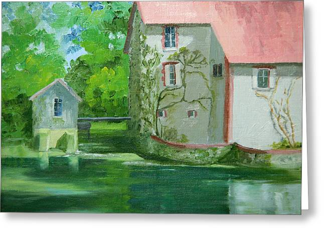 Old Mill Scenes Paintings Greeting Cards - Old French Mill Greeting Card by Roxanne Rodwell