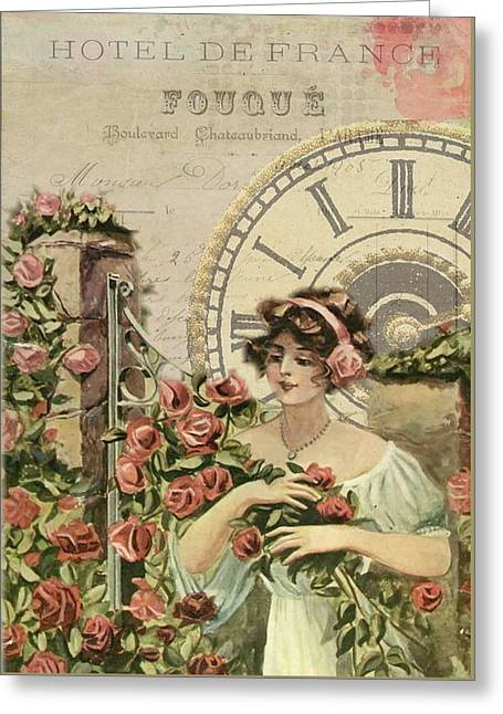 Old French Poster Greeting Card by FL collection
