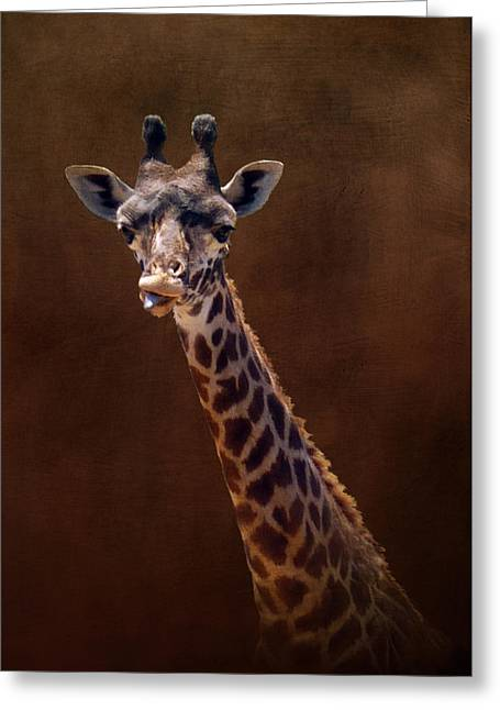 Old Funny Face Giraffe Greeting Card by Carla Parris