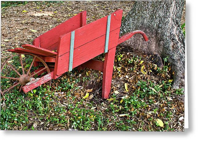 Revelry Greeting Cards - Old Garden Wheel Barrow Greeting Card by Douglas Barnett