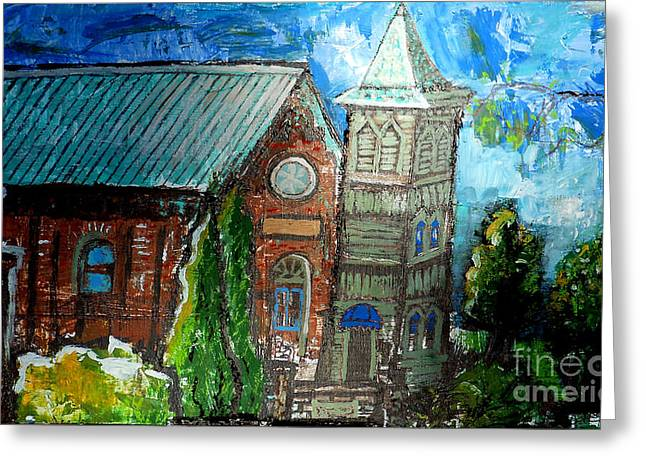 White River Drawings Greeting Cards - Old German Church In New Melle Missouri Greeting Card by Genevieve Esson
