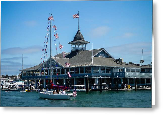 4th Of July Parade Greeting Cards - Old Glory Boat Parade Greeting Card by Pamela Newcomb