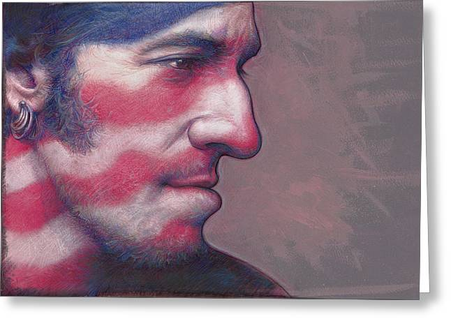 Bruce Springsteen Paintings Greeting Cards - Old Glory Days Greeting Card by David Farren