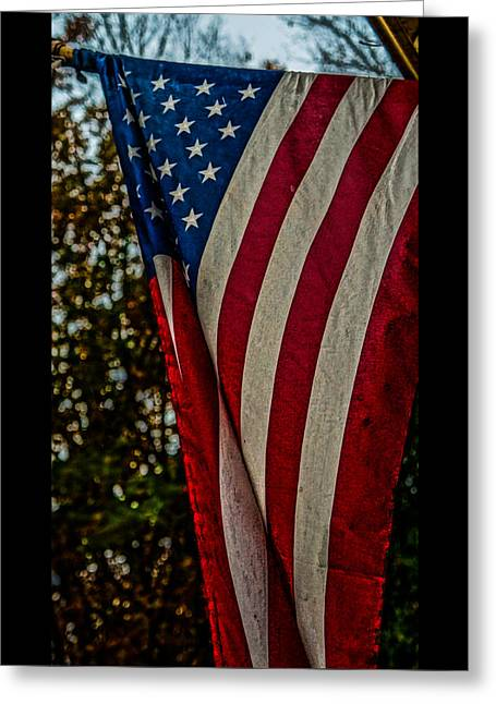 Green And Yellow Greeting Cards - Old Glory HDR Greeting Card by Keegan Hall