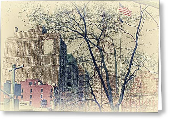 Empire State Buldingtrees Greeting Cards - Old Glory in Old Style and Empire Greeting Card by Alex AG