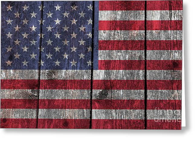 Americanism Greeting Cards - Old Glory on wood Greeting Card by Bruce Stanfield
