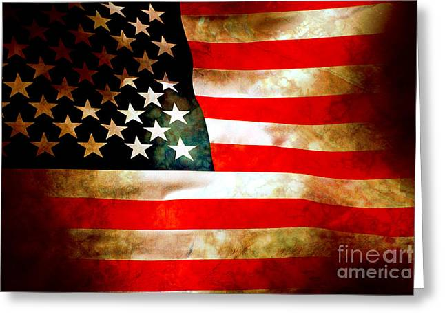 Battle Greeting Cards - Old Glory Patriot Flag Greeting Card by Phill Petrovic