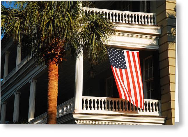 Flag Of Usa Greeting Cards - Old Glory Waving in Charleston Greeting Card by James Kirkikis