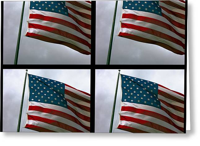 U S Founding Father Greeting Cards - Old Glory X 4 Greeting Card by Daniel Hagerman