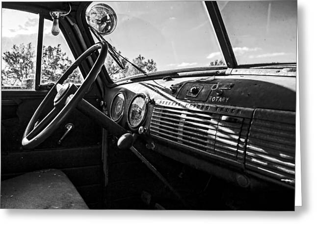 Steering Greeting Cards - Old GMC Firetruck Dash BW Greeting Card by Kevin Anderson