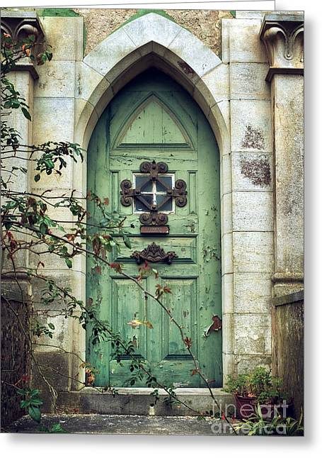 Neo-gothic-style Greeting Cards - Old Gothic Door Greeting Card by Carlos Caetano